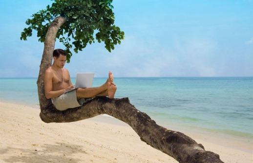 Mann-mit-Laptop-auf-einem-Baum
