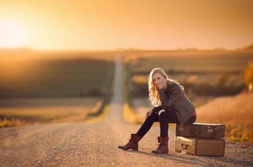Waiting-Woman-Road-Bags